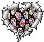 Ripped Torn Metal Heart with Mexican Sugar Skull Repeat Motif External Car Sticker 105x100mm
